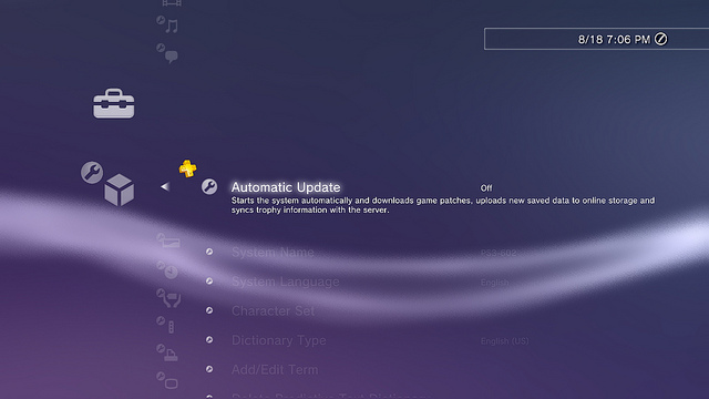 Sony Update Screen