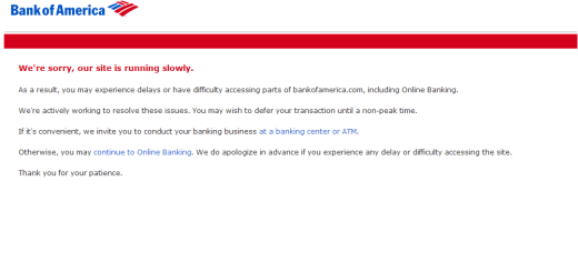 Bank of America Down