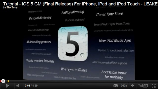 iOS 5 GM (Final Release) For Iphone, IPad and IPod Touch
