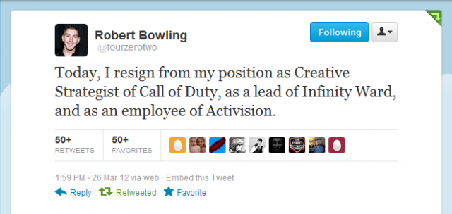 Robert Bowling Tweets His Resignation from Infinity Ward and Activision.
