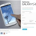 Samsung Galaxy S III Signup Page