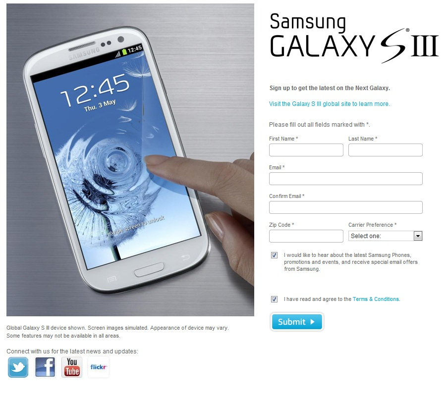 Samsung Galaxy S III Signup Available