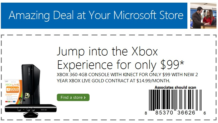 Microsoft Stores Now Offering $99 Xbox 360 Kinect Bundles with 2 Year Contract