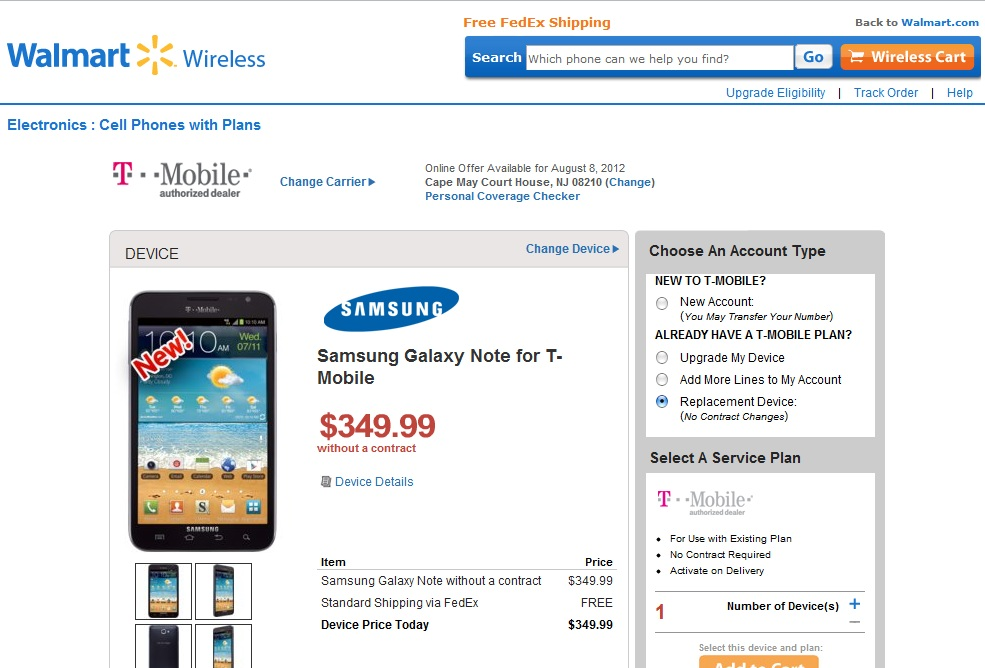 Epic Deal – Walmart Selling T-Mobile Samsung Galaxy Note $349 No Contract