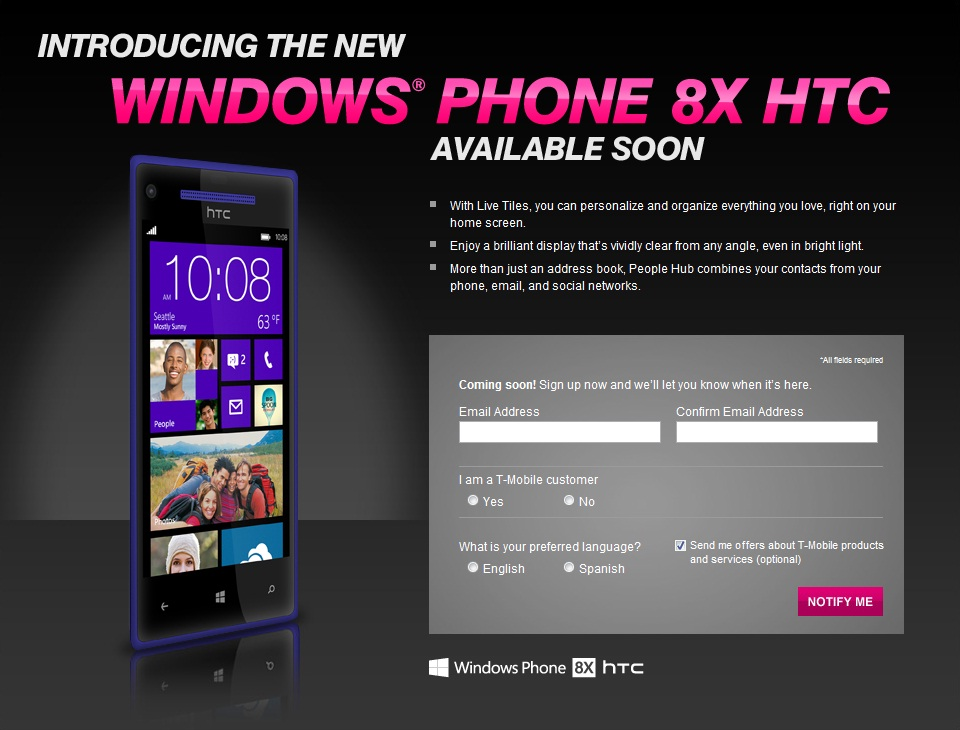 HTC Windows 8 Phone Signup Page At T-Mobile
