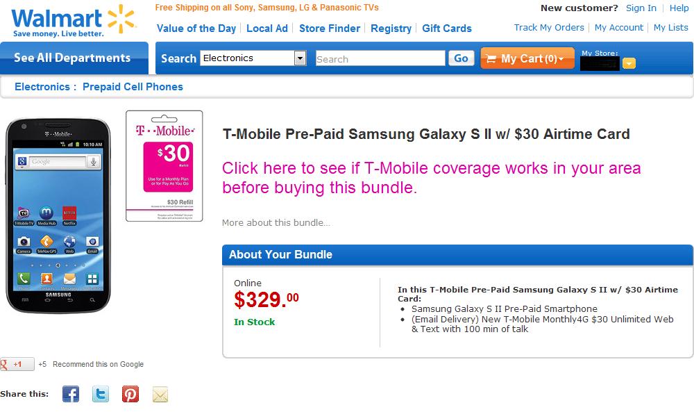 T-Mobile Galaxy S II Prepaid + $30 Card $329.99 @ Walmart.com