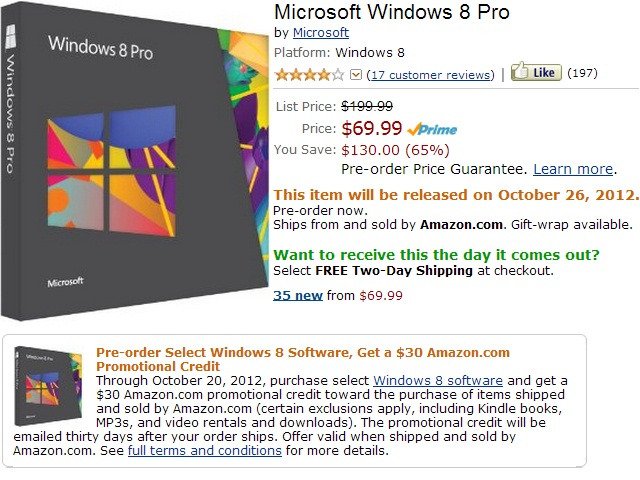 Windows 8 Pro Preorder for $69.99 plus $30 Amazon Credit