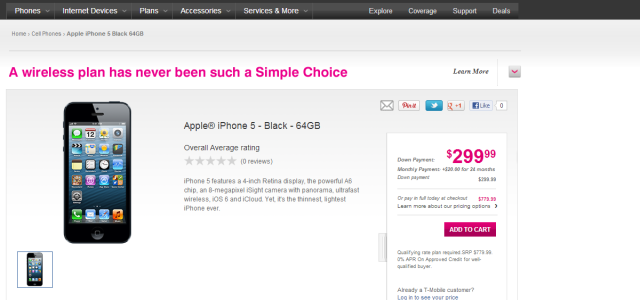 "It's official, T-Mobile is selling the iPhone 5′s on their page. T-Mobile began this morning by putting up the pricing for their no-contract, ""Un-Carrier"" plans, offering the iPhone 5′s starting...It's..."